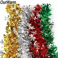 OurWarm 2M Colorful Snowflake Tinsel Ribbon Christmas Tree Garland Decorations Xmas Home Ornaments Festival Party Decoration