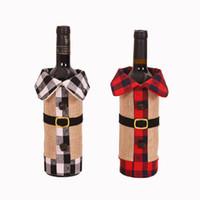 Yeni Noel Şarap Kapak Ekose Keten Şişe Giyim Şarap Şişesi Kapağı Noel Süsleme Şarap Çanta Noel Dekorasyon CYZ2745 60pcs