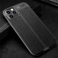 Litchi PU Läder TPU Bumper Case för iPhone 12 11 Pro Max XS XR SE 2 Mobiltelefonkåpa för Samsung Sony Moto