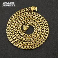 """CYCM HIPHOP Hommes Bijoux Fermoir massif en acier inoxydable d'or Miami Cuban Link Chaîne 8/10/12 / 14mm Punk Heavy Long Collier 18 """"20"""" 30 """""""