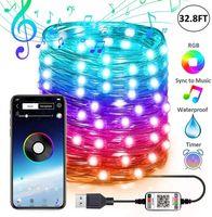 USB Peri Dize Işıkları Müzik Sync Renk RGB LED Şerit Bluetooth Uygulama Kontrol Bakır Tel Dizeleri Noel Partisi Düğün Açık Dekorasyon