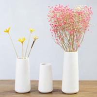 Simples Ceramic arranjo de flor Vaso Início Tabela Pot Flower Decor Jardim Secretária ornamento criativo Mini vaso 15/18 / 22 centímetros Altura