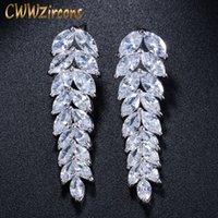 CWWZircons Mode 2020-Sommer-Art Pendientes Schmuck Lange baumelnde Blatt österreichische Kristalltropfen-Ohrringe für Frauen CZ019