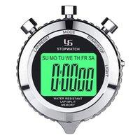 Таймеры ys Цифровое секундомер таймера металлические Стоп часы с подсветкой, 2 круга для спортивных соревнований