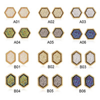 Caliente venta 18K Gold Filled 12mm Druzy Pendientes de moda para mujer de venta al por mayor joyería pendiente del hexágono Drusy Resina