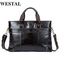 WESTAL Laptop Bag Briefcase Male Genuine Leather Handbags Tote Men Messenger Bags Business Briefcases Bag Men for Documents