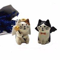 Oggetti decorativi figurine angelo gatto diavolo decolle modello animale figurina resina artigianale in miniatura festa decorazione giardino decorazione di halloween decor di