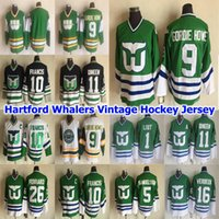 Hartford Whalers Mens Vintage Jerseys 9 Gordie Howe 10 Ron Francis 11 Kevin Dineen 26 Ray Ferraro 1 Mike Liut Hockey Jersey con punte
