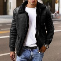 Solid Color Mens Outerwears with Zipper Winter Plus Size Men...