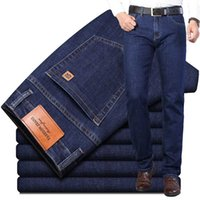 2020 Herbst New Herren Regular Fit Jeans klassischer Art-Schwarz Blau Fashion Denim Stretch Pants Male Marke Hosen