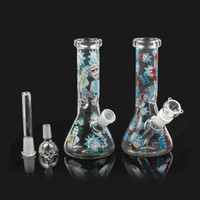 Dab Rig Glaspfeife 8 Zoll Hookahs Heady Wasser Bongs Recycler Percolator Bong Kleine bunte Becher Bongs 14mm Gelenk fit Quarz Banger