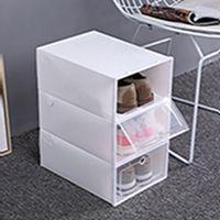Сгущает Прозрачные пластиковую коробку для обуви пыле обувь ящик для хранения Флипа Прозрачной обуви Коробка цвета конфеты стекируемой обувь Организатор Box EEA2004-1