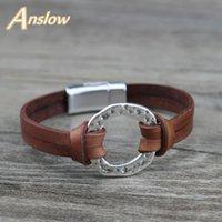 Anslow Марка Модные ювелирные изделия Магнитные браслеты мужские аксессуары из натуральной кожи Браслет для Man Charms Gift LOW0718LB