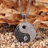 Hip hop chinois mystique mystique yin yang pendentif collier acier inoxydable zircon bagua pendentif pour hommes femmes mode bijoux collier