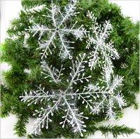 2020 6-22cm Weihnachtsbaumdekoration Schneeflocke Anhänger Kunststoff-Anzug Neujahr / Weihnachtsfest-Dekorationen Senden Angelschnur Ball Leim