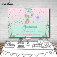 Material de fondo Rosa y menta Tema Glitter Mermaid File PRODUCT STUDIO Little Stars Girls Born Baby Shower Fondos de vinilo