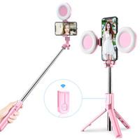 4 en 1 sans fil Bluetooth selfie bras extensible LED Light Ring, en direct de poche monopode, Trépied pour IPhone X 8 applications Smartphone