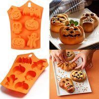 Silicone muffa del cioccolato di Halloween fai da te Motif fondente Candy stampo Skull Zucca Bat silicone del biscotto della muffa del cioccolato AAB2019