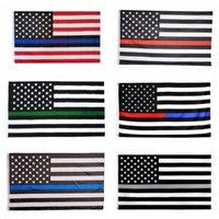 Stati Uniti Stock 3x5FT 60pcs Flags Thin Blue Line Red Line 2020 6 stili poliestere bandiera degli Stati Uniti Police Fire rispetto e l'onore della bandiera bandiere per feste