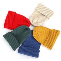 2020 New Winter Solid Color Korean-style Wool Knit Beanie Women Fashion Casual Hat Warm Soft Thicken Hedging Cap Slouchy Ski
