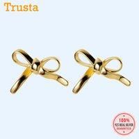Trustdavis Genuine 100% 925 Sterling Silver Cute Bowknot Stud Earrings For Women Fashion Sterling Silver Jewelry Wholesale DA415