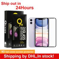 아이폰 11 12에 대 한 도매 전체 커버 강화 유리 화면 보호기 소매 상자가있는 미니 프로 최대 xs 9d 9h 0.3mm
