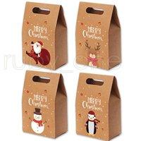 Maçãs de presente de Natal sacos de papel Kraft Vintage dos doces Caso partido presente do Xmas de Santa do boneco de neve Saco de mão pacote envolvido Detalhes no RRA3551