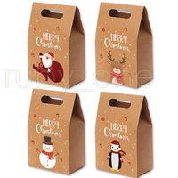 Яблоки Рождественские подарочные пакеты Vintage Kraft Paper Candy Case партия подарков Xmas Санта снеговика мешок руки сверток украшения RRA3551