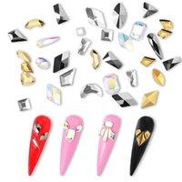 TP 200pcs Nail Art Rhinestones Flat Crystal AB Shaped Teardrop Heart Rectangle Glass Stone Black Golden 3D Nails Decoration