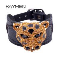 Strass moda completa e Pelle Bracelelt Leopard-Head braccialetto per i gioielli partito dorati placcati del braccialetto delle donne 2 colori