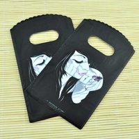 Spedizione gratuita di plastica sacchetti di acquisto 15X9cm Lady modello nero piccolo sacchetto di plastica sveglio sacchetti del regalo di caramella con la maniglia di 200Pcs / lot