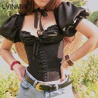 LVINMW Casual mujeres atan para arriba el arco riza acanalada tapas delgadas de cuello Calle Las mujeres forman la linterna Cuadrado Negro de manga corta T-shirt