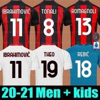 20 21 AC Milan Футбол Джерси Ибрагимович 2020 2021 Calhanoglu Brahim Rubic Theo Tonali Packa Bennacer CamiSeta Men + Kids Kit Футбольная рубашка