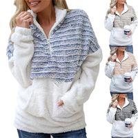 Designer Womens Sherpa lã com capuz Quente Plush Listrado Moda Furry Pullover Camisolas Meio Zipper Blusas Outwear Plus Size Tops D91711
