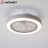Modern Minimalist White Ceiling Fan With Light Crystal Decor...