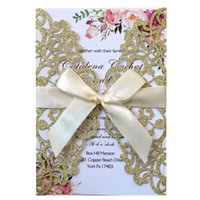 100PCS Glitter Laser Cut Invitations Cards with Ribbon and Envelopes for Engagement Wedding Bridal Shower Birthday Party Favors