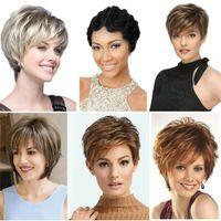 Леди женщины мода короткие вьющиеся парики черные блондинки волнистые волосы Pexie бойкут парик