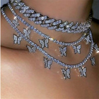 الطبقات قلادة القلائد الحيوان فراشة المختنق الأزياء والمجوهرات للنساء مثلج سلسلة الهيب هوب قلادة عيد الحب هدية B159F