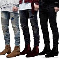 Kanye dökümlü Tasarımcı Delikler Ripped Kalem Jean pantolon Pantalones Slim Fit GD Biker Jeans Mens
