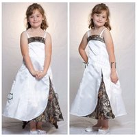 2020 Spaghetti Strips A-Line Camo Flower Girls Dresses Length Slim Camouflage Formal Kids Formal Wedding Wear