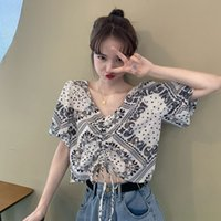 gMKkm Western style chiffon short- sleeved shirt Korean women...