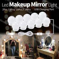 허영 불빛 3 색 4000-5000k 터치 디 밍이 가능한 거울 메이크업 LED 가벼운 USB 5V 할리우드 전구 실내 조명 스튜디오 드레싱 테이블 침실 침실 욕실 eub