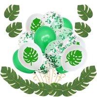 حزب الديكور Kuchang هاواي الصيف ديكور النخيل الاستوائية الاصطناعي يترك خضراء اللاتكس النثار بالونات لعيد ميلاد