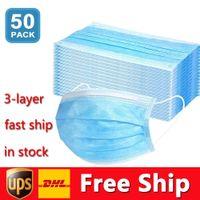 DHL 무료 배송 일회용 마스크 50pcs 보호 및 개인 건강 마스크 3 층 얼굴 커버 Earloop 입 얼굴 위생 마스크