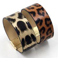 B2302 ZWPON PU-Leder-Leopard-Stulpe-Armbänder Magnet Großer Tierdruck Gepard Magnetische Armbänder Punk Schmuck Großhandel