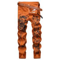 Erkek moda Çin mürekkep yıkama kot Tiger slim fit streç kot pantolon baskılı Tablonun