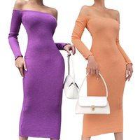 Women Dresses Autumn Bodycon Dress Ladies Off Shoulder Dresses Sexy Long Sleeve Maxi Female Party Dress Knit Casual Dresses 050927