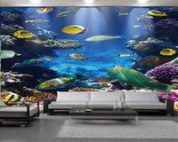 3d Hayvan Duvar Kağıdı Duvar kağıdı Güzel Sualtı Mercan ve Küçük Balık Manzara Dijital Baskı HD Dekoratif Güzel Duvar kağıdı 3d