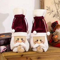 Garrafa de Natal da tampa de Santa com vidros de vinho vermelho Frasco Roupa Champagne Covers Velvet bonito Wine Xmas Party Bag Decoração LJJP505