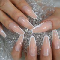 Le unghie false lucide Bianco Bianco Pressa francese Sulla baratta extra lunga Ballerina Forma Gel UV Gel Nudo Nudo Nastri adesivi gratuiti Nastri adesivi 24pcs